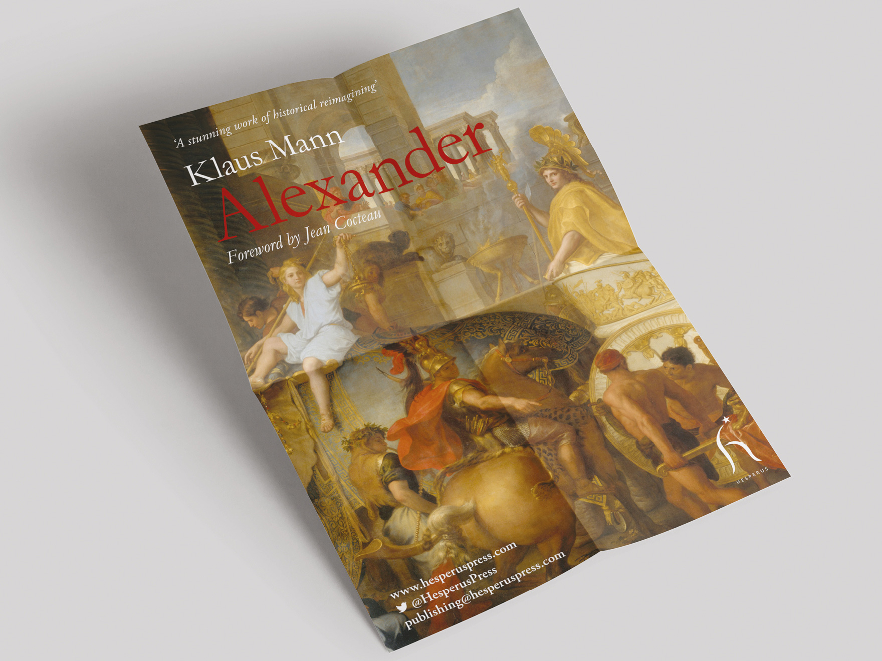 A promotional poster the Hesperus Press book release of Klaus Mann's Alexander.  The picture links to a page showing further examples of menu and promotional items designed by Roland Codd.