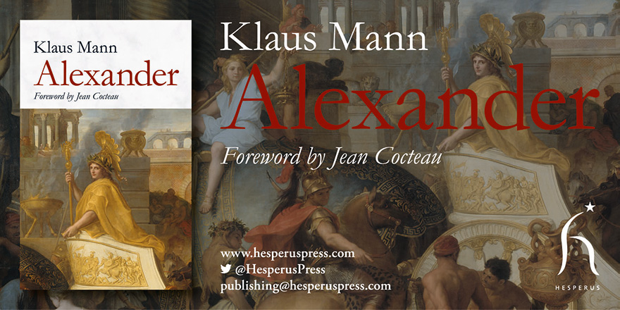 Social media banner to promote the book launch of Alexander, published by Hesperus Press. Banner features the title, Alexander, the front of the book cover and a detail from the artwork in the background.