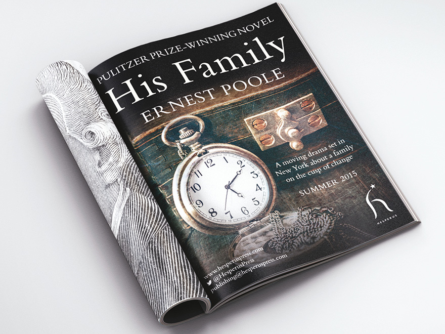 Inside pages of a magazine showing a full page advert promoting the launch of Hesperus book, His Family. The adverts uses artwork of the pocket watch, taken from the original cover artwork.