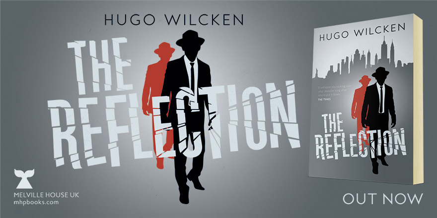 Social media banner to promote the book launch of The Reflection, published by Melville House UK. Banner features the title, the front of the book cover and two sihouettes of men from the original cover artwork.