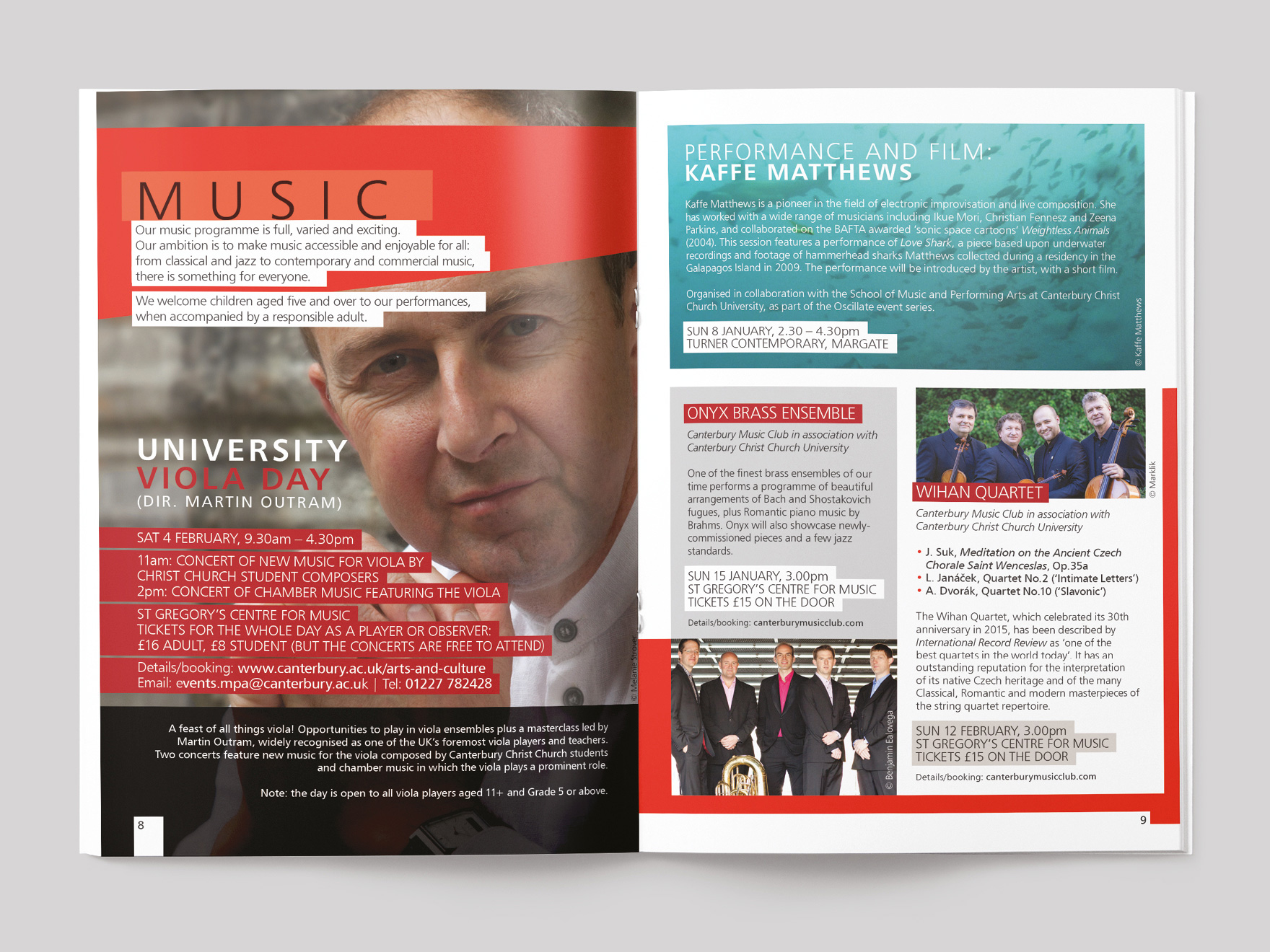 Inside pages from Arts & Culture magazine, showing the chapter opener to the music section