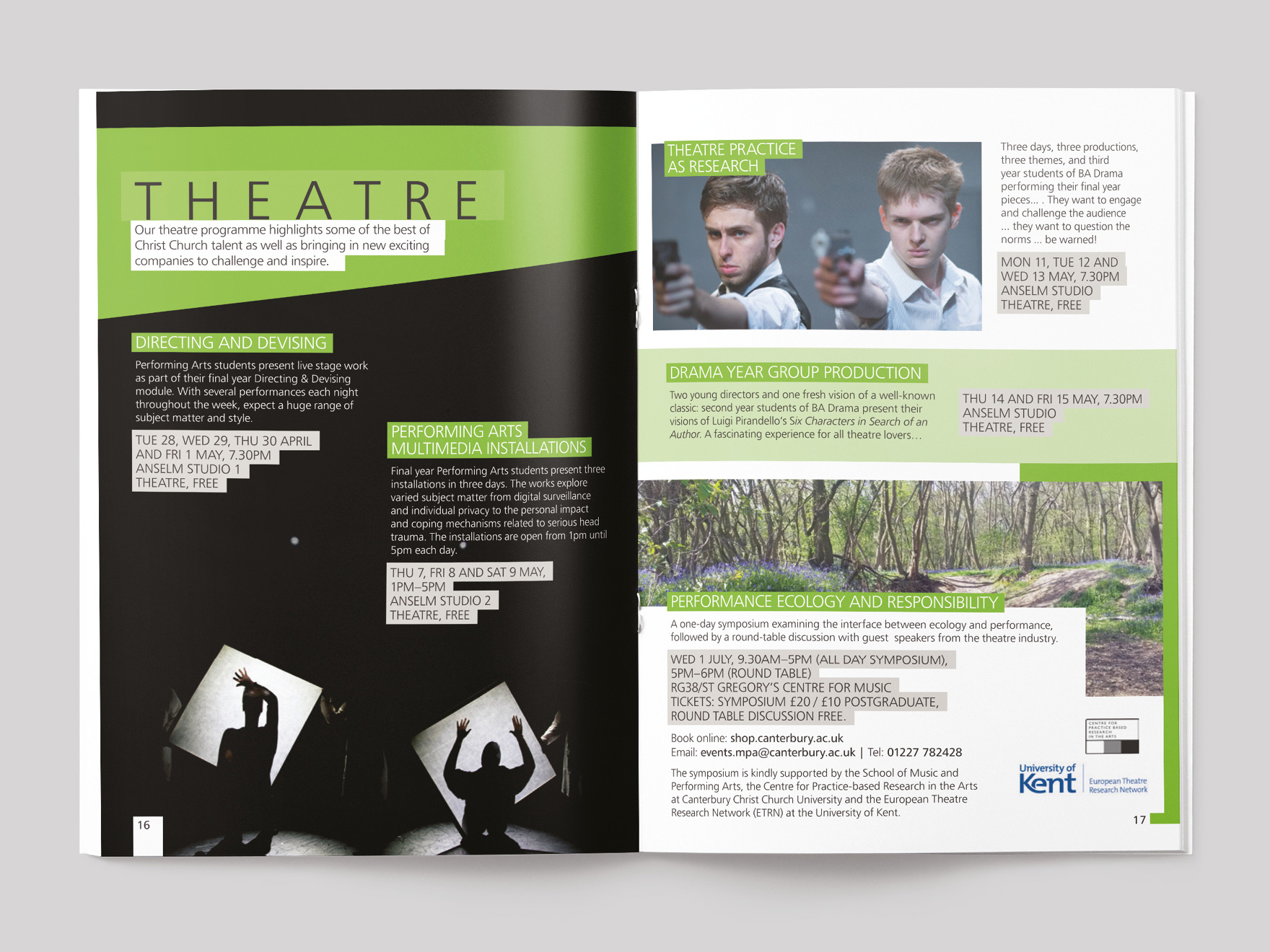 Inside pages from Arts & Culture magazine, showing the theatre section