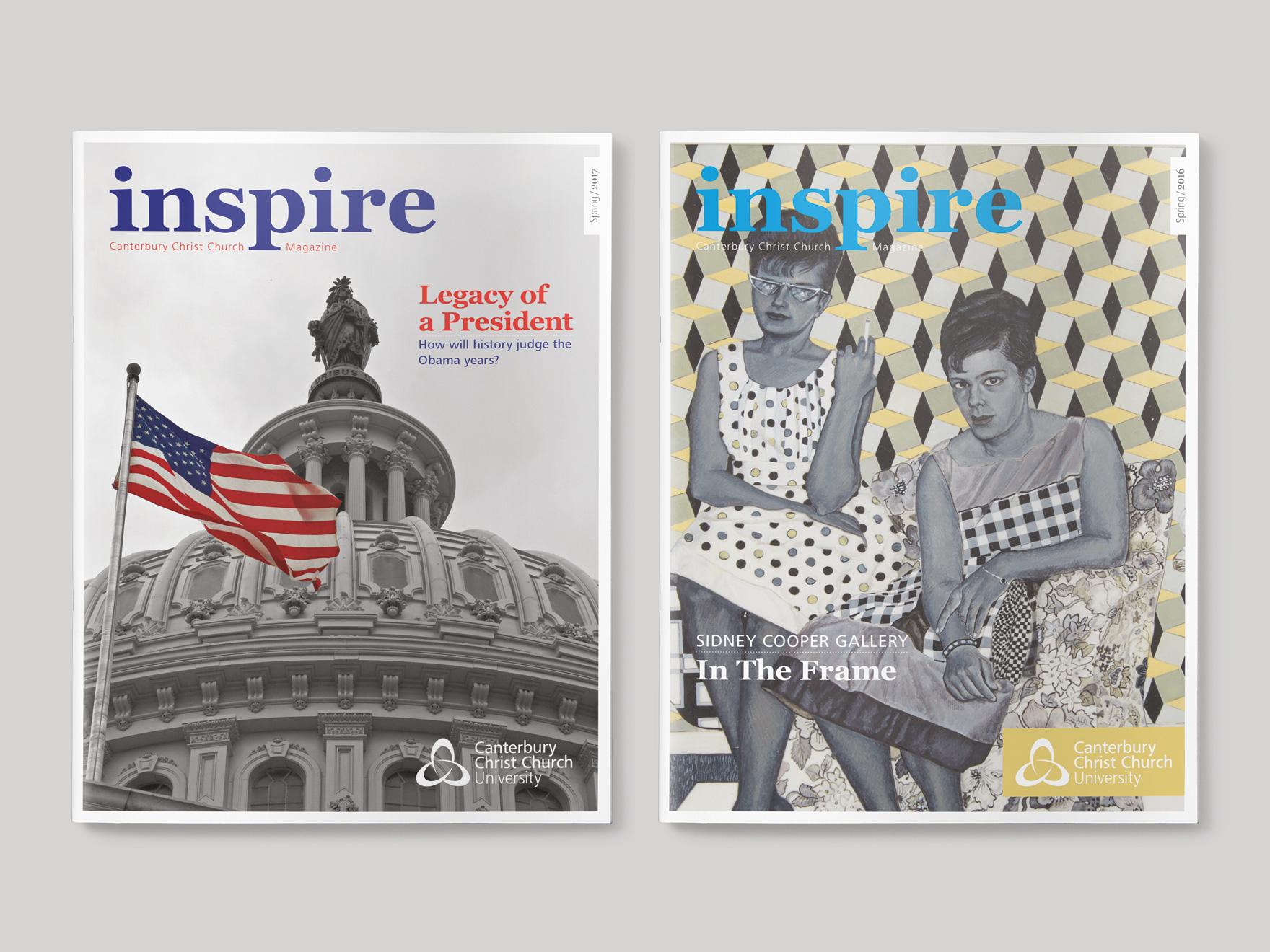 Front covers to the Spring 2017 and Spring 2016 issues of Inspire Magazine