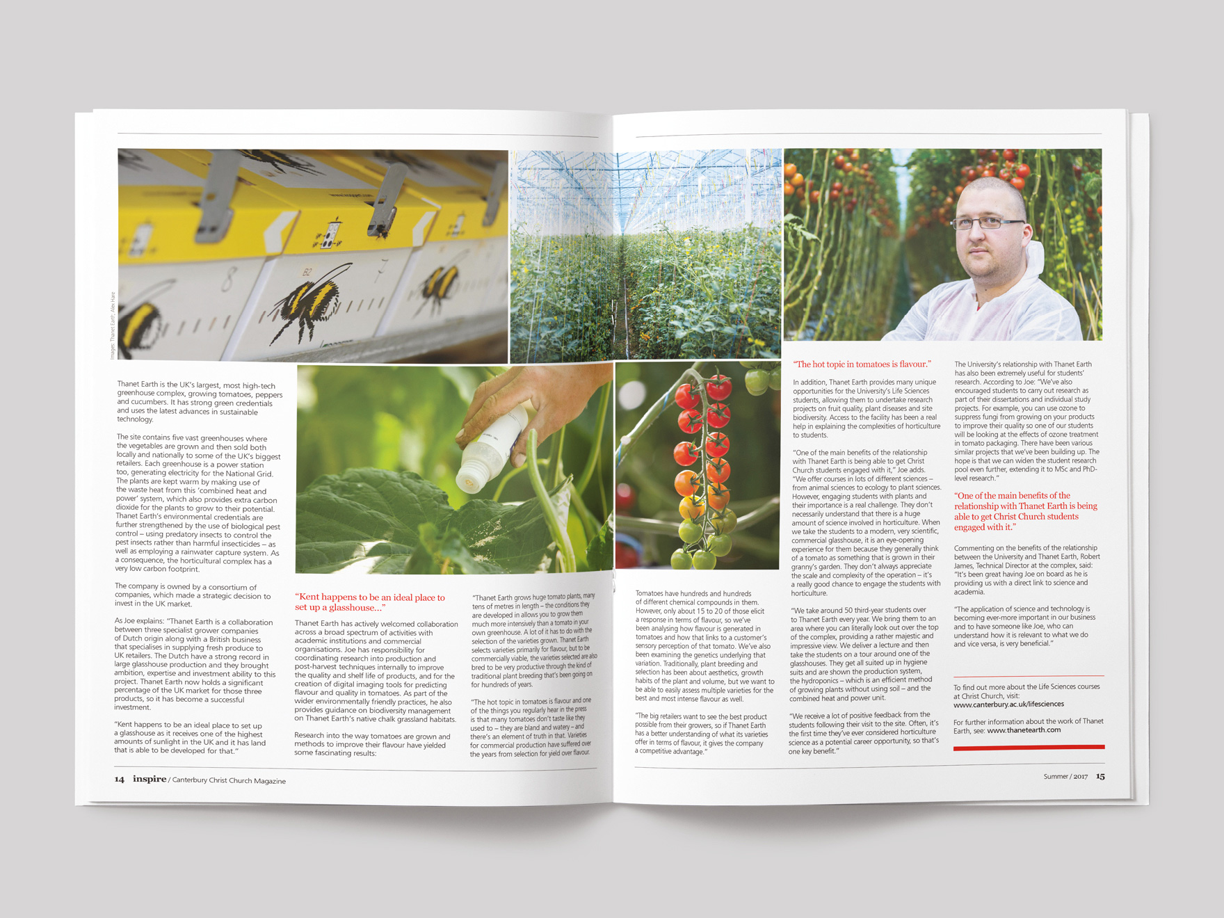 Inside pages from Inspire magazine, showing the pages of a feature on Farming for the Future