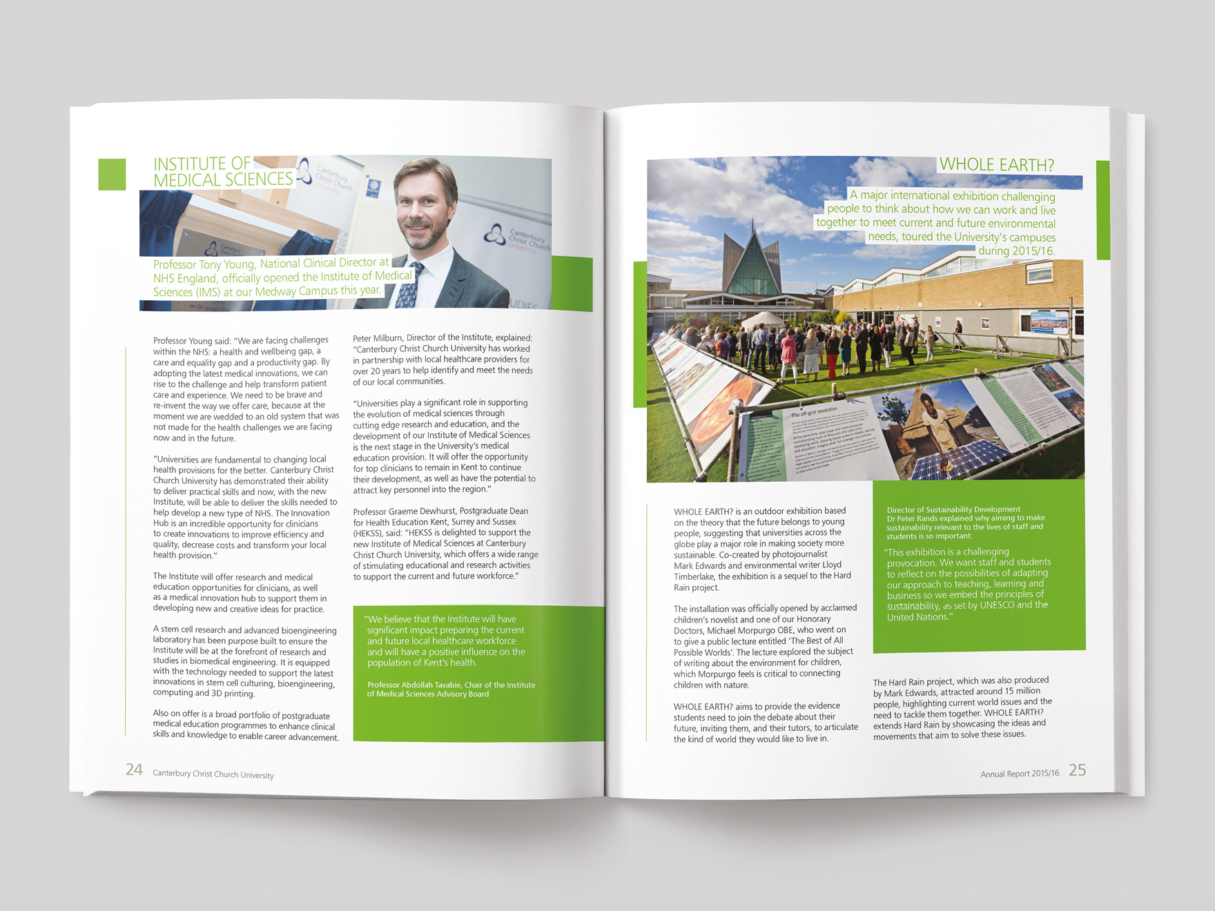 Inside pages from the 2016/16 Canterbury Christ Church University annual report