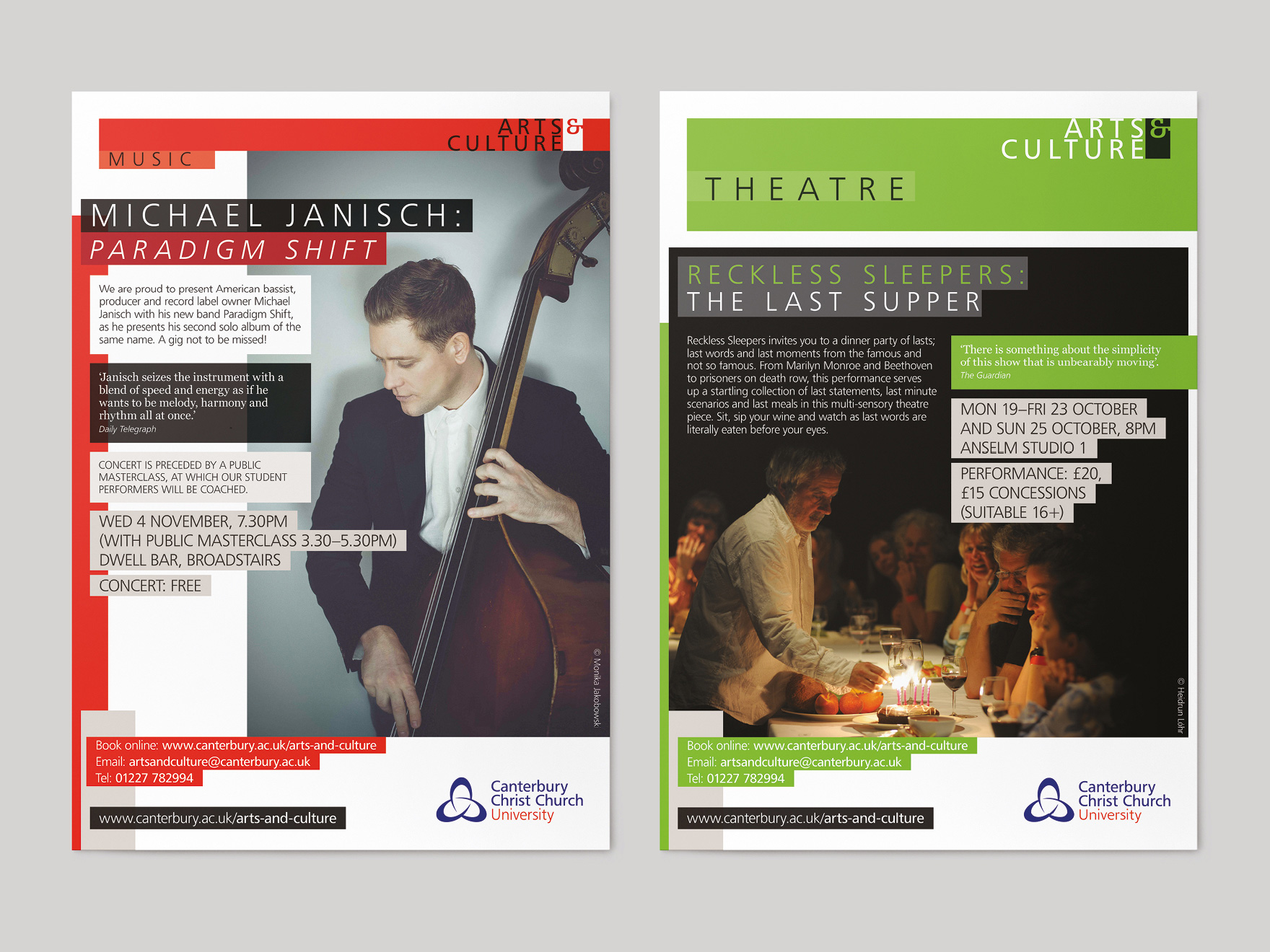 Music posters for Canterbury Christ Church University