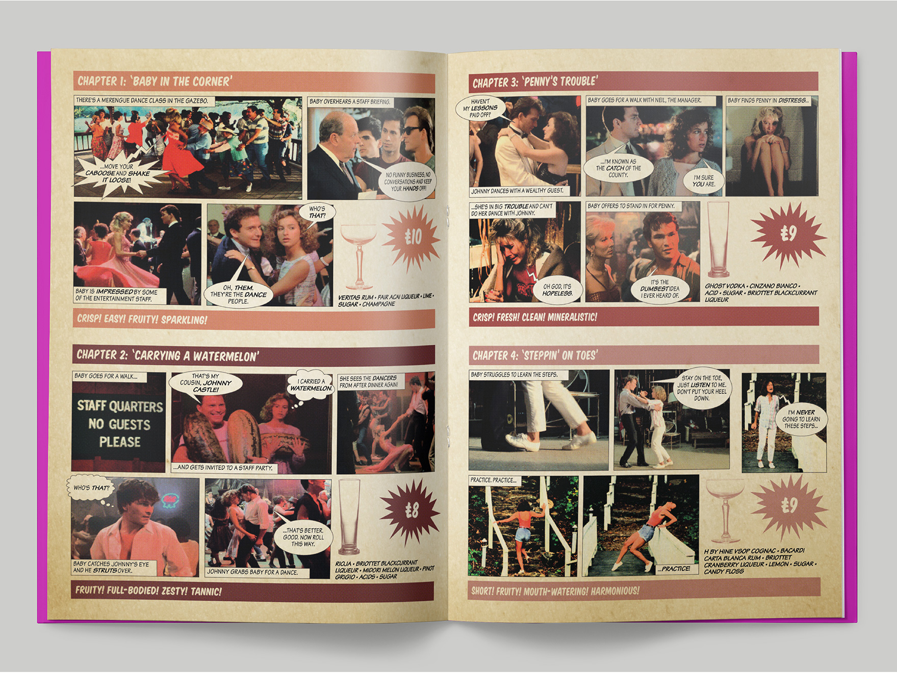 Inside pages from a classic 1980s film-themed cocktail menu at the Falstaff Hotel