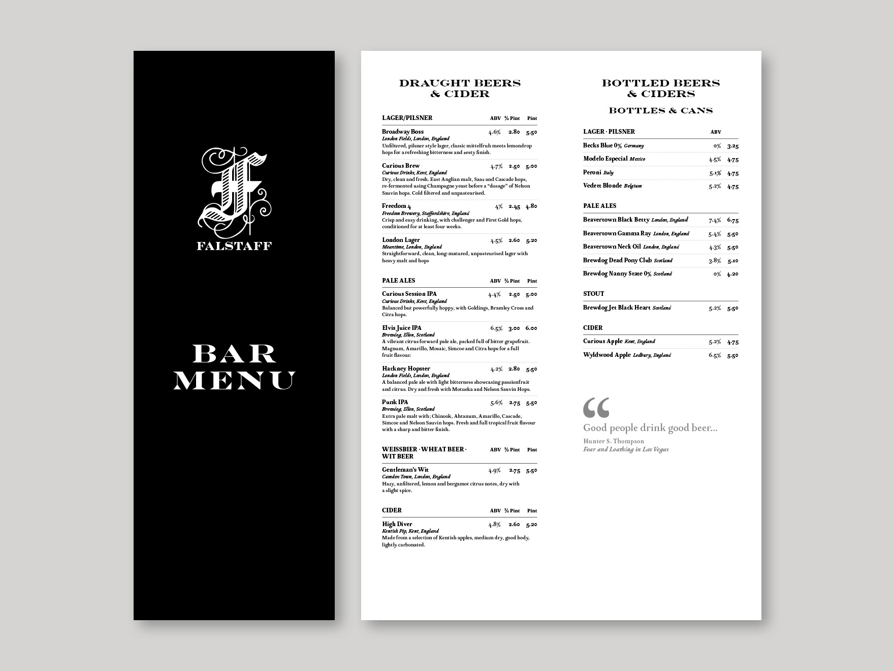 The front cover and an inside page of the bar menu listing beers and ciders for the Falstaff Hotel