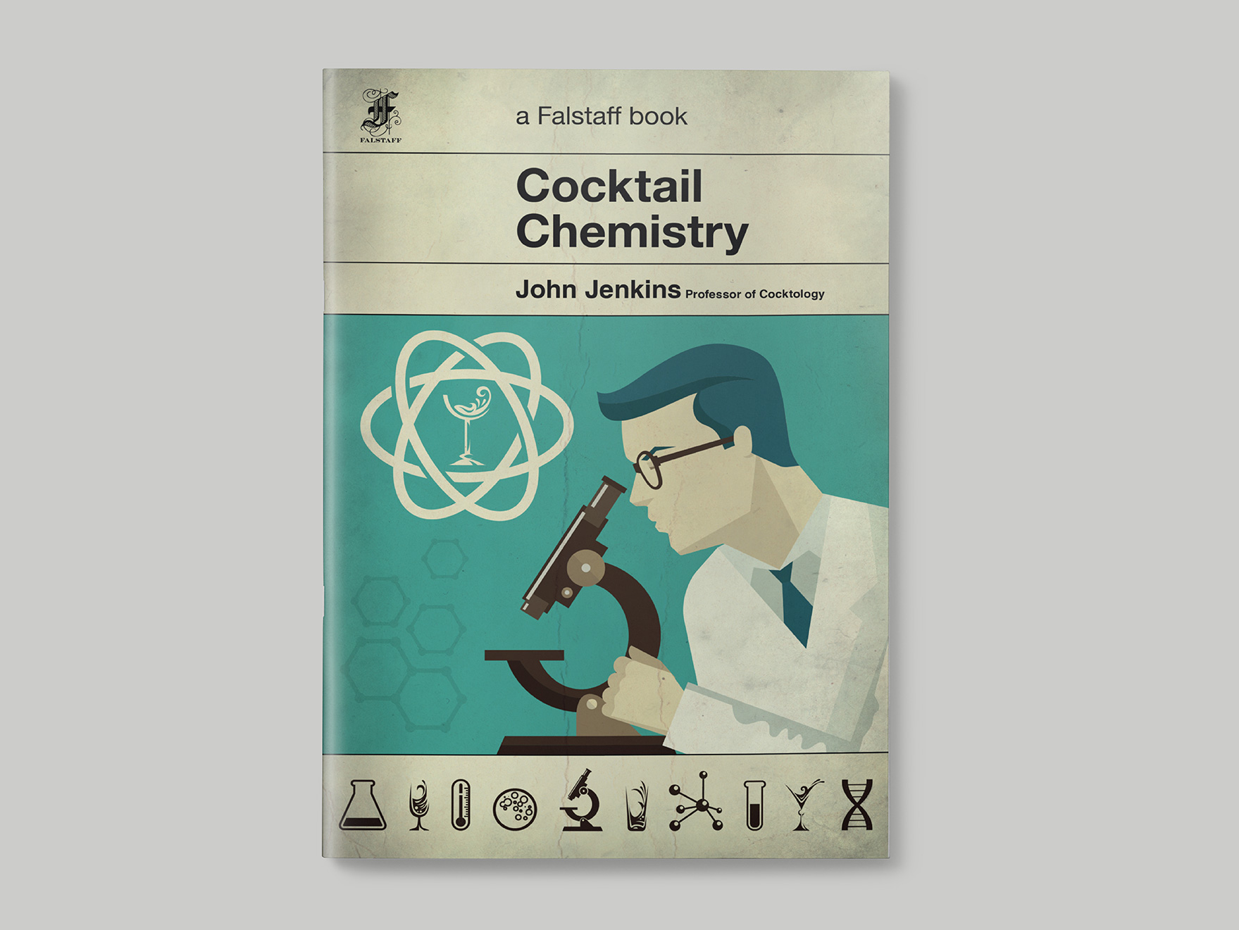Front cover of the menu to Cocktail Chemistry for the Falstaff Hotel, designed to look like an old science text book