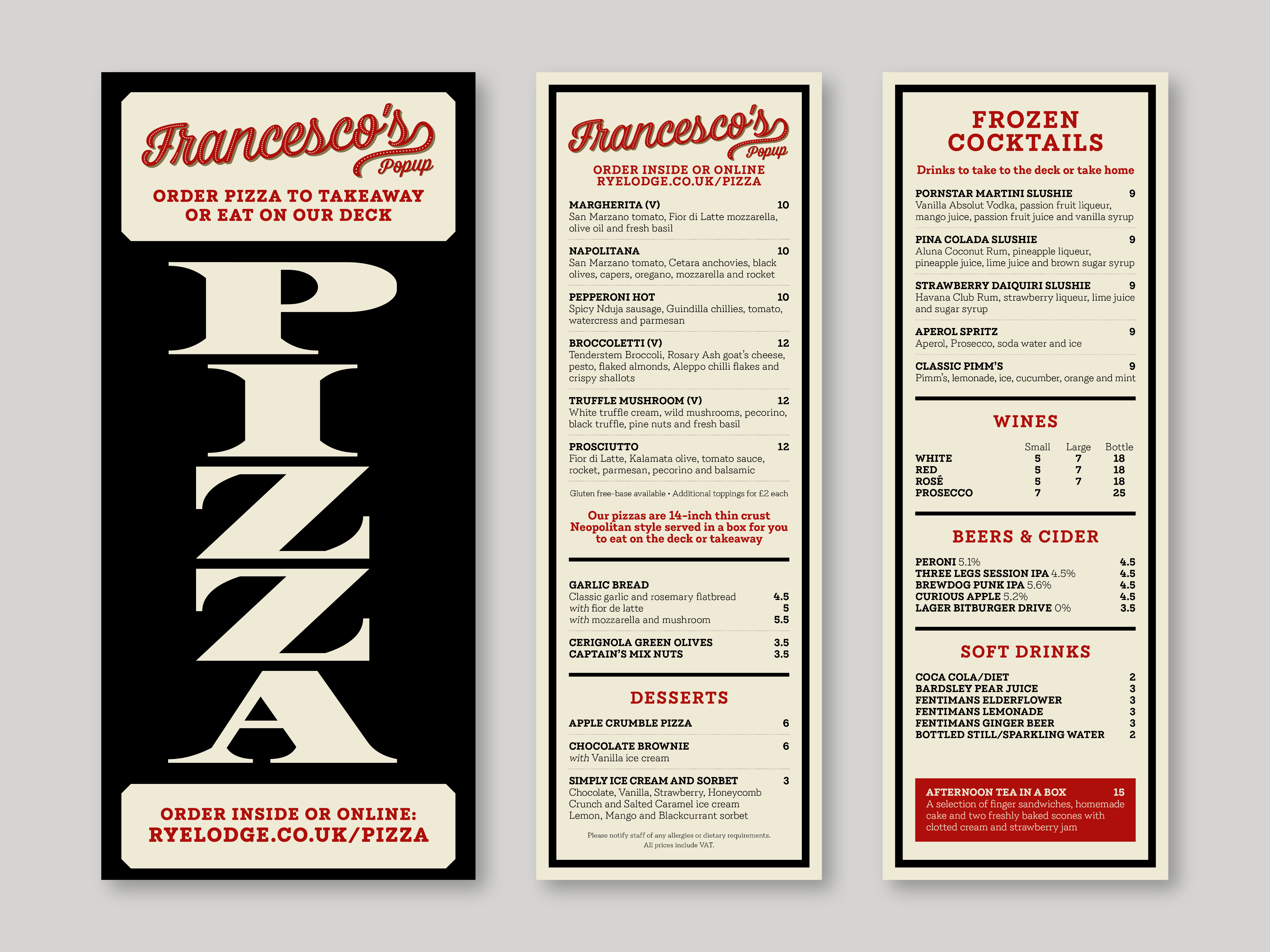 Pizza and drinks menu and pizza sign for the Rye Lodge