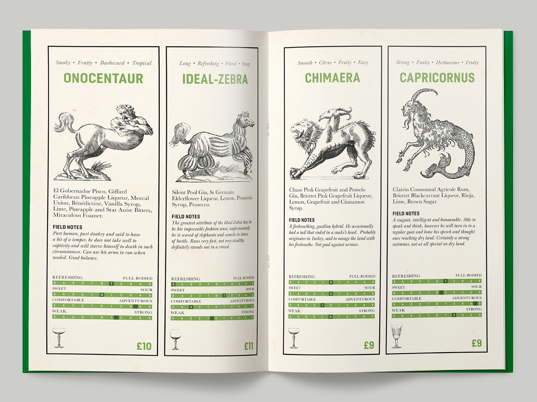 Inside pages to a cryptozoology-themed cocktail menu at the Falstaff Hotel
