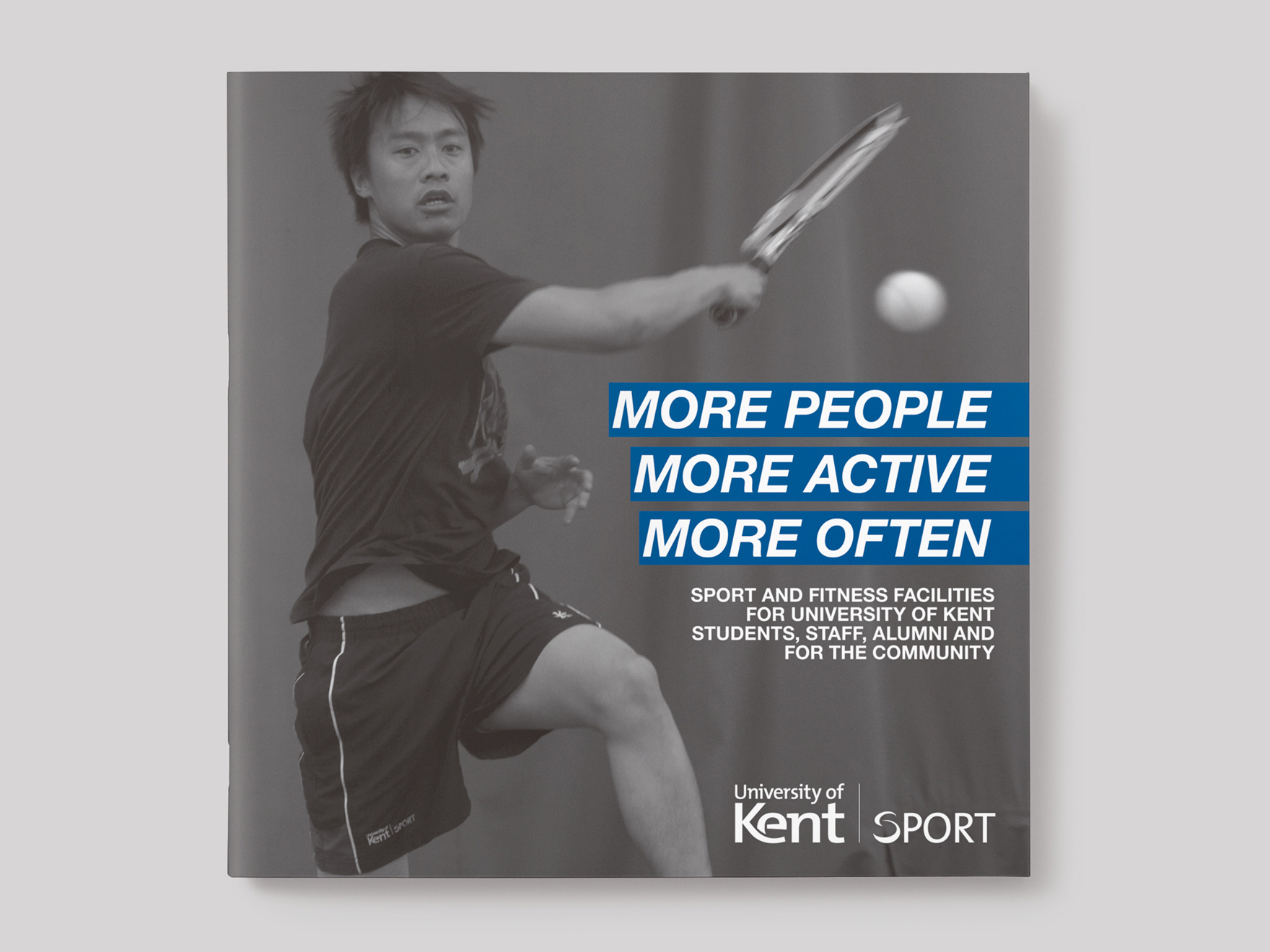 Front cover to a brochure for Kent Sport featuring a student playing tennis