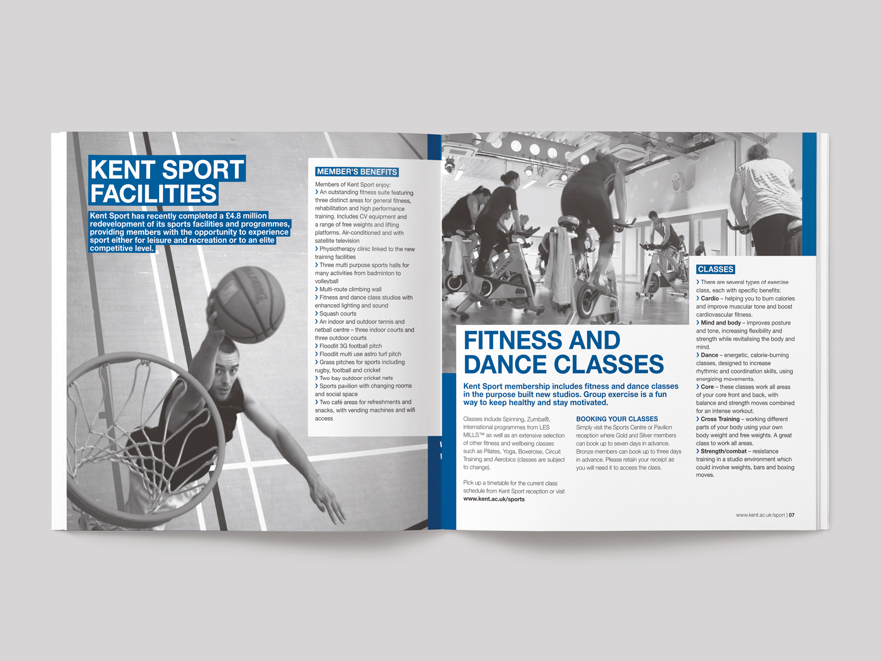 Inside pages from a brochure for Kent Sport showing the sporting facilities