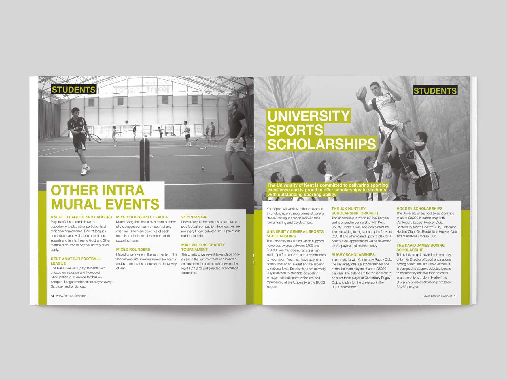 Inside pages from a brochure for Kent Sport showing information for student members